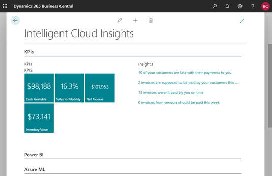 Intelligent Insights with Business Central